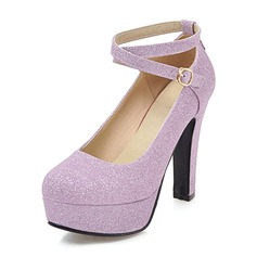 Women's Sparkling Glitter Chunky Heel Pumps Platform With Buckle shoes (117153687)