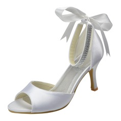 Women's Satin Spool Heel Peep Toe Sandals With Bowknot Rhinestone