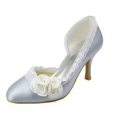 Women's Satin Stiletto Heel Closed Toe Pumps With Satin Flower Stitching Lace