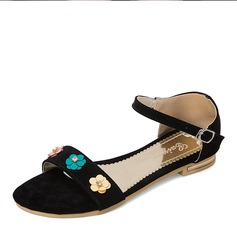 Women's Suede Flat Heel Sandals Flats With Flower shoes