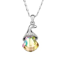 Christmas Bell Crystal/Platinum Plated Ladies'/Child's Necklaces