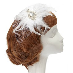 Accrocheur Cristal/Fil net/Feather Chapeaux de type fascinator