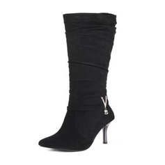 Women's Suede Stiletto Heel Pumps Boots Knee High Boots With Rhinestone Others shoes
