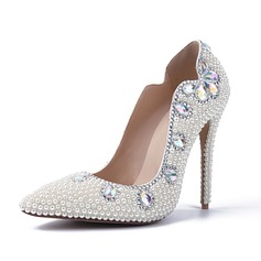 Women's Patent Leather Stiletto Heel Closed Toe Pumps With Rhinestone Jewelry Heel