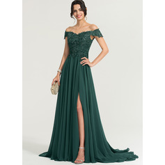 Off-the-Shoulder Sweep Train Chiffon Prom Dresses (272214578)