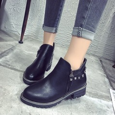 Women's PU Flat Heel Flats Boots Ankle Boots shoes