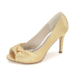Women's Satin Stiletto Heel Peep Toe Pumps With Bowknot