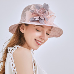 Damer' Klassisk stil/Elegant Linné Beach / Sun Klobúky/Kentucky Derby Hattar/Tea Party Hattar