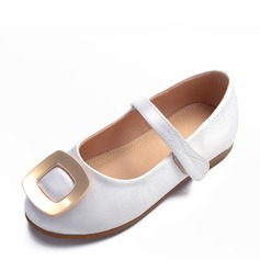 Girl's Round Toe Closed Toe Satin Flat Heel Flats Flower Girl Shoes With Velcro