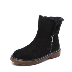 Women's Suede Low Heel Platform Boots Snow Boots With Zipper Faux-Fur shoes