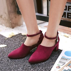 Women's Suede Chunky Heel Pumps Closed Toe With Imitation Pearl Buckle shoes
