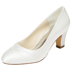 Women's Satin Chunky Heel Closed Toe