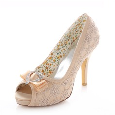 Women's Lace Stiletto Heel Peep Toe Pumps With Rhinestone Ribbon Tie