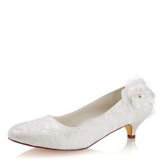Women's Lace Silk Like Satin Kitten Heel Closed Toe With Flower Crystal