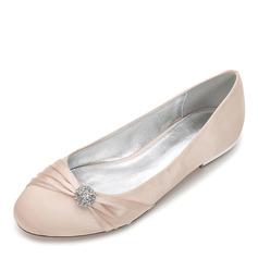 Frauen Seide wie Satin Flascher Absatz Geschlossene Zehe Flache Schuhe mit Satin Schnürsenkel Kristall