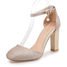 Women's Sparkling Glitter Chunky Heel Sandals Pumps Closed Toe With Buckle shoes (085166977)