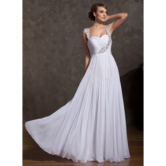 A-Line/Princess Sweetheart Floor-Length Chiffon Holiday Dress With Ruffle Beading (020025842)