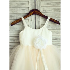A-Line/Princess Flower Girl Dress - Cotton Sleeveless Straps With Flower(s)
