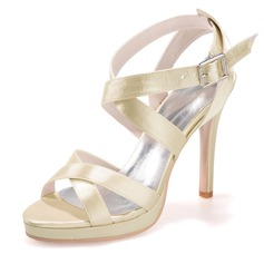 Women's Satin Stiletto Heel Peep Toe Platform Sandals Slingbacks With Buckle