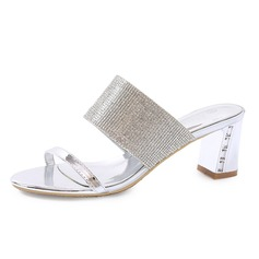 Women's Patent Leather Chunky Heel Sandals Slippers With Rhinestone shoes (087080104)