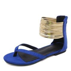 Frauen Veloursleder Flascher Absatz Sandalen Flache Schuhe Peep Toe Flip Flops mit Reißverschluss Schuhe