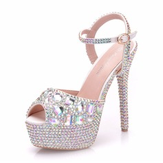Women's Leatherette Spool Heel Peep Toe Platform Pumps With Crystal