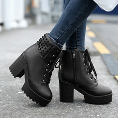 Leatherette Chunky Heel Platform Ankle Boots Riding Boots With Rivet Ruffles Braided Strap shoes