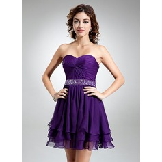 Forme Princesse Bustier en coeur Court/Mini Mousseline Robe de cocktail avec Plissé Emperler
