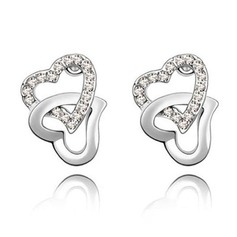 Sweet Heart Alloy With Crystal Ladies' Earrings