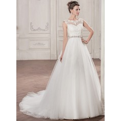 Ball-Gown Scoop Neck Chapel Train Tulle Wedding Dress With Beading Appliques Lace Sequins