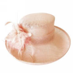 Ladies' Gorgeous Cambric With Feather Bowler/Cloche Hat