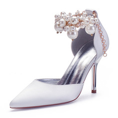 Women's Silk Like Satin Stiletto Heel Closed Toe Pumps With Imitation Pearl