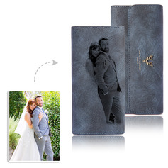 Bride Gifts - Personalized Beautiful Photo Engraved Black And White Imitation Leather Wallet