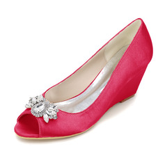 Women's Silk Like Satin Wedge Heel Peep Toe Pumps Wedges With Others