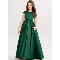 Ball-Gown/Princess Scoop Neck Floor-Length Satin Lace Junior Bridesmaid Dress With Bow(s) Pockets (009217800)