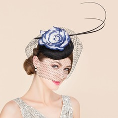 Ladies' Glamourous Cambric With Feather/Silk Flower Fascinators