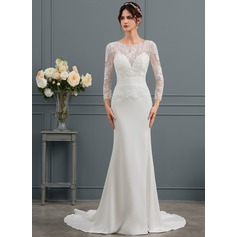 Sheath/Column Scoop Neck Court Train Stretch Crepe Wedding Dress With Ruffle
