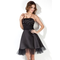 A-Line/Princess Strapless Knee-Length Satin Cocktail Dress With Ruffle Beading (016002430)