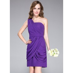 Sheath/Column One-Shoulder Knee-Length Chiffon Bridesmaid Dress With Ruffle