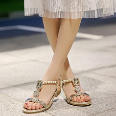 Women's Low Heel Sandals Beach Wedding Shoes With Imitation Pearl Rhinestone