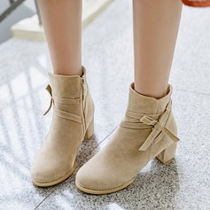 De mujer Ante Tacón ancho Salón Botas Botas al tobillo con Bowknot Cremallera zapatos