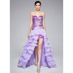 A-Line/Princess Sweetheart Asymmetrical Detachable Chiffon Sequined Prom Dress With Beading Cascading Ruffles