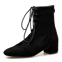 Women's Suede Low Heel Closed Toe Boots Ankle Boots Mid-Calf Boots With Lace-up shoes