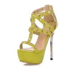 Women's Leatherette Stiletto Heel Sandals Platform Peep Toe With Rivet shoes (087068886)
