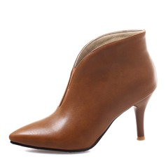 Kvinner Lær Stiletto Hæl Pumps Lukket Tå Støvler Ankelstøvler med Elastisk bånd sko