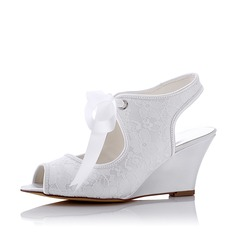 Women's Lace Silk Like Satin Wedge Heel Slingbacks Wedges With Lace-up