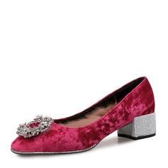 De mujer Ante Tacón ancho Salón Cerrados con Rhinestone Hebilla Piel zapatos