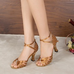 Women's Satin Heels Sandals Pumps Latin With Rhinestone Dance Shoes