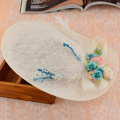 Ladies' Glamourous Cambric With Silk Flower Floppy Hat