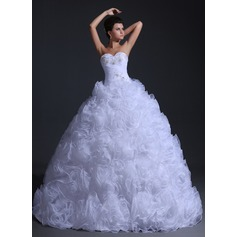 Balklänning Hjärtformad Golvlång Organzapåse Bröllopsklänning med Rufsar Pärlbrodering
